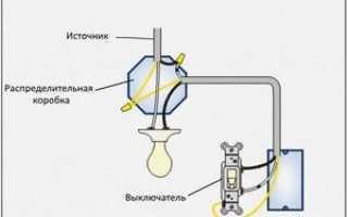 Как подсоединить лампочку через выключатель