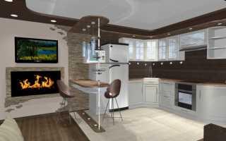 Отделка барной стойки между кухней и гостиной