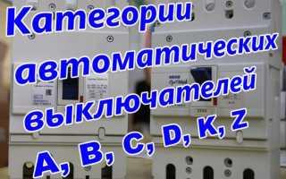 Класс срабатывания автоматических выключателей